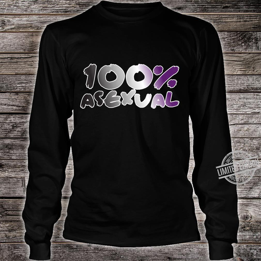 100% Asexual Ace Pride Flag Proud LGBTQ Cool LGBT Ally Shirt long sleeved