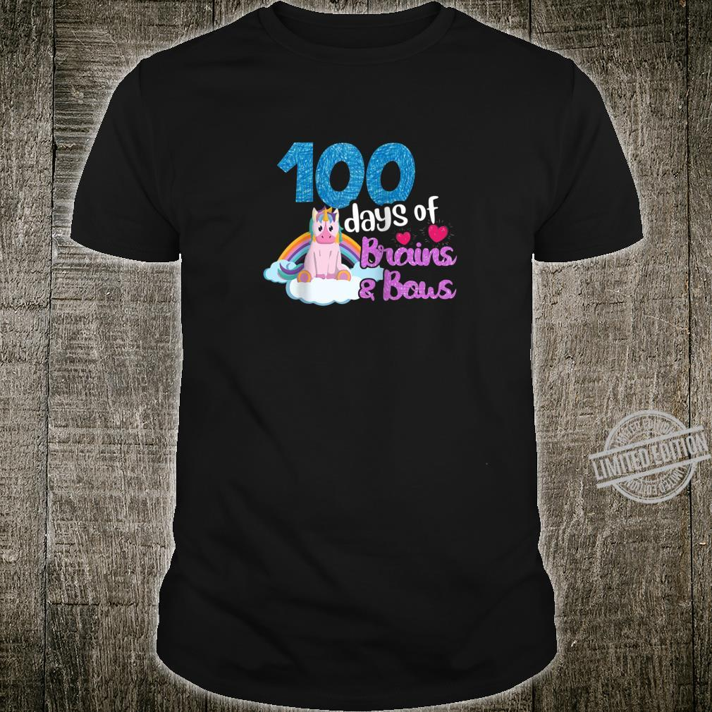 100 Days Of Brains Bows Unicorn 100th Day Of School Shirt