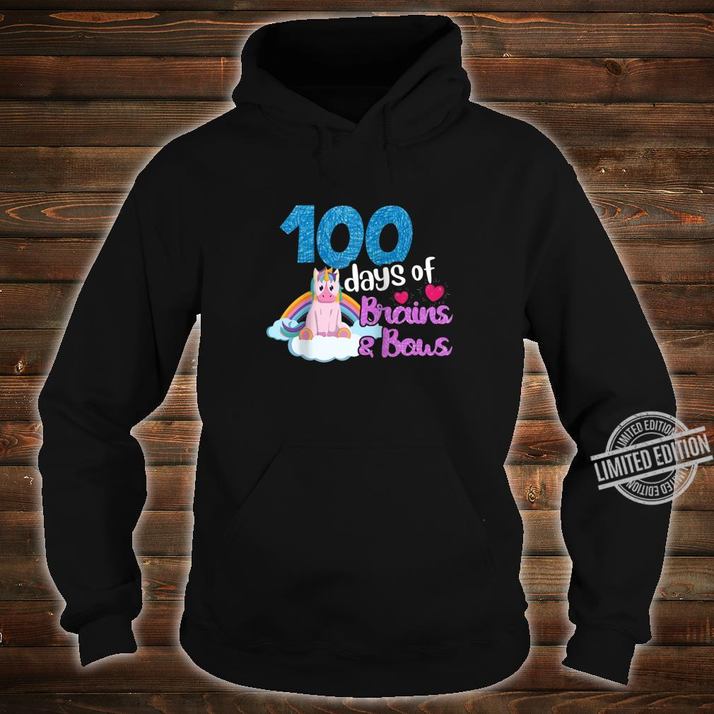 100 Days Of Brains Bows Unicorn 100th Day Of School Shirt hoodie