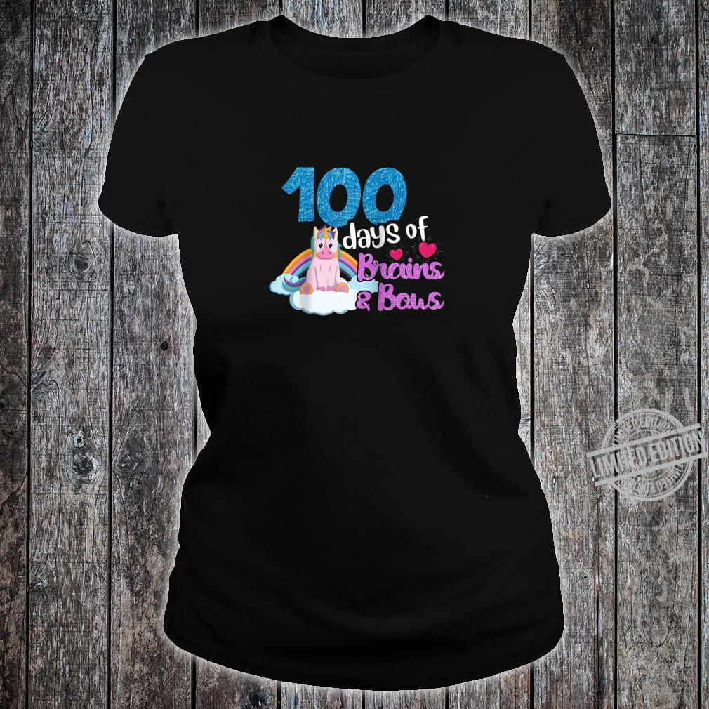 100 Days Of Brains Bows Unicorn 100th Day Of School Shirt ladies tee