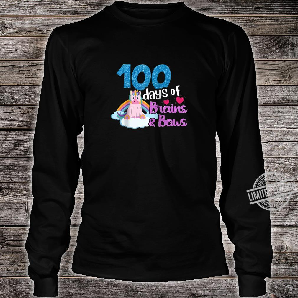 100 Days Of Brains Bows Unicorn 100th Day Of School Shirt long sleeved