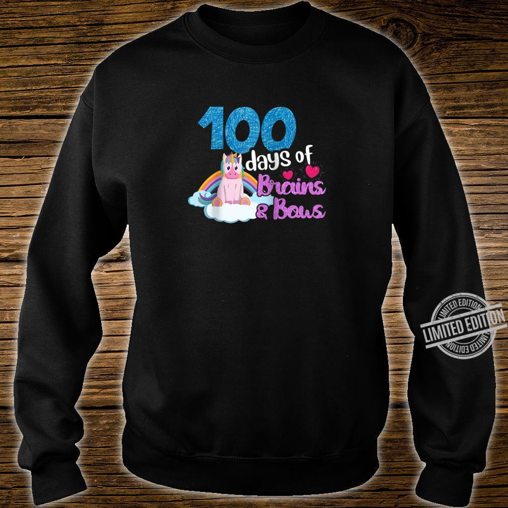 100 Days Of Brains Bows Unicorn 100th Day Of School Shirt sweater