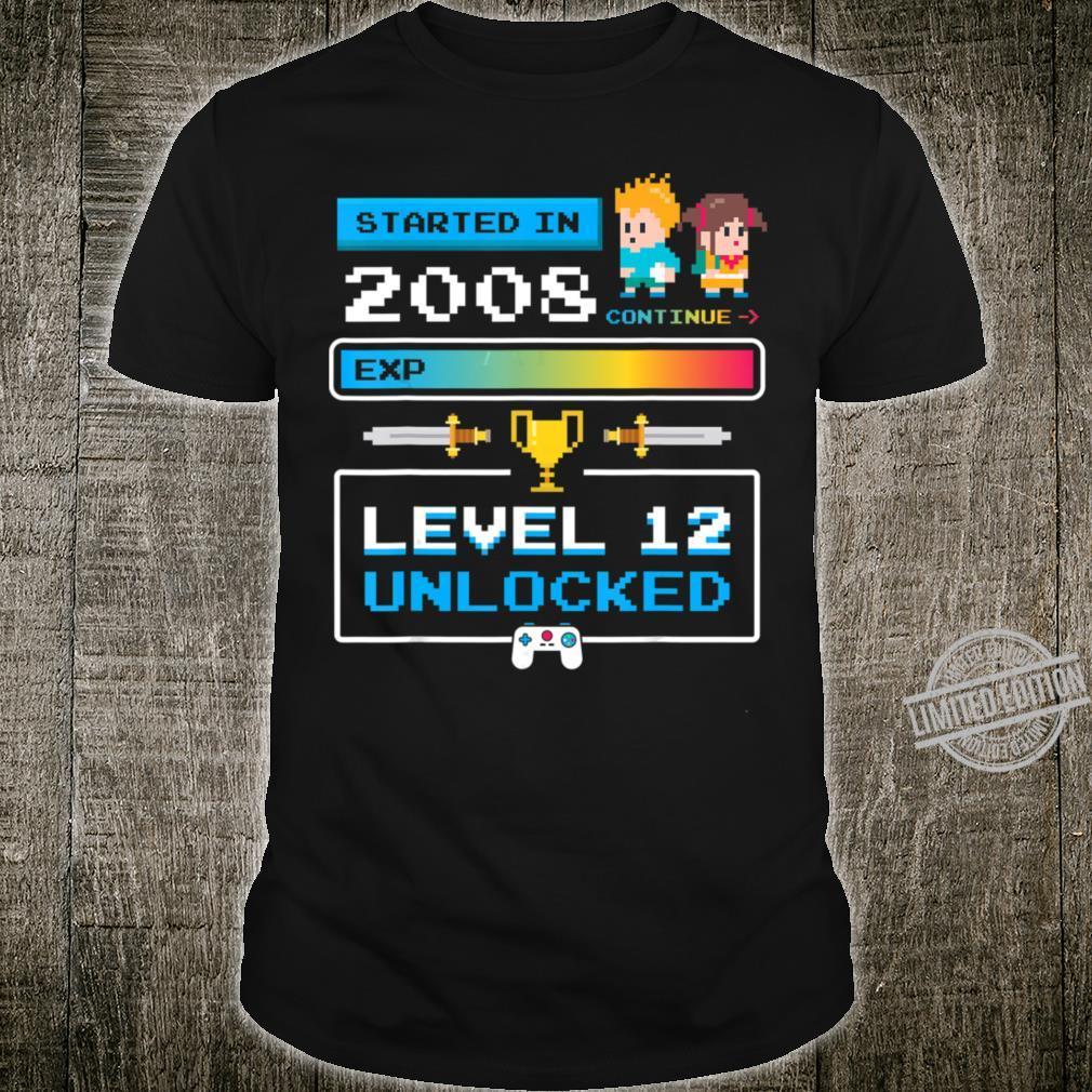 2008 12th Birthday Gamer Cute Level 12 Shirt