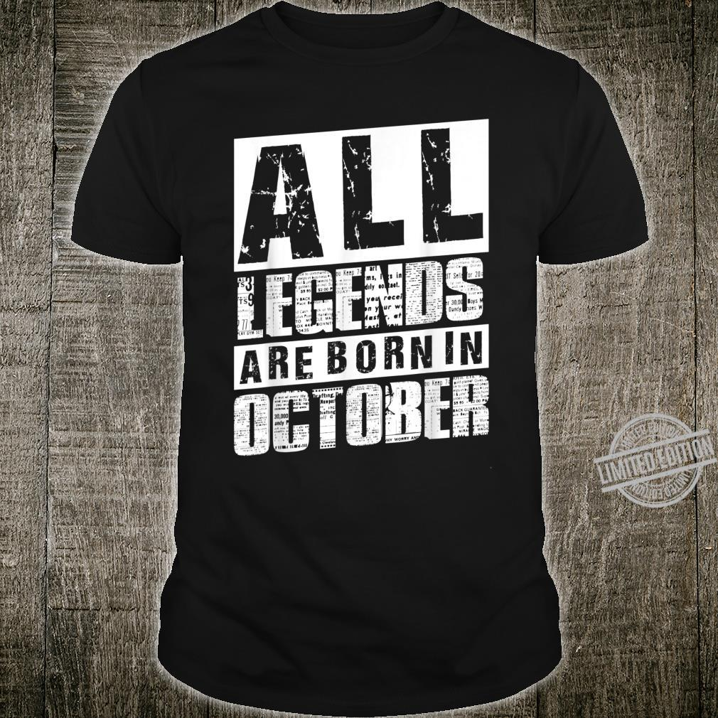 40. Geburtstag Männer All Legends Are Born In Oktober 1980 Shirt