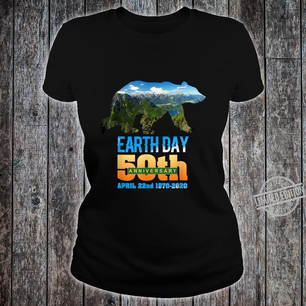 50th Anniversary Earth Day Bear Silhouette Shirt ladies tee