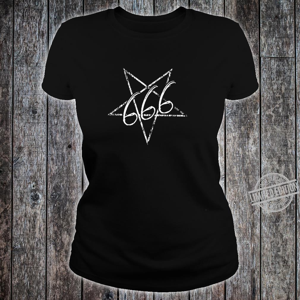 666 Distressed Satan Pentagramm Teufel Gothic Shirt ladies tee