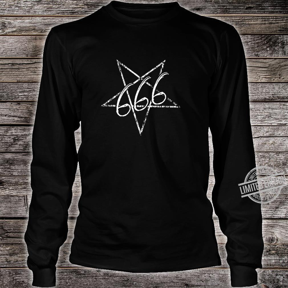 666 Distressed Satan Pentagramm Teufel Gothic Shirt long sleeved