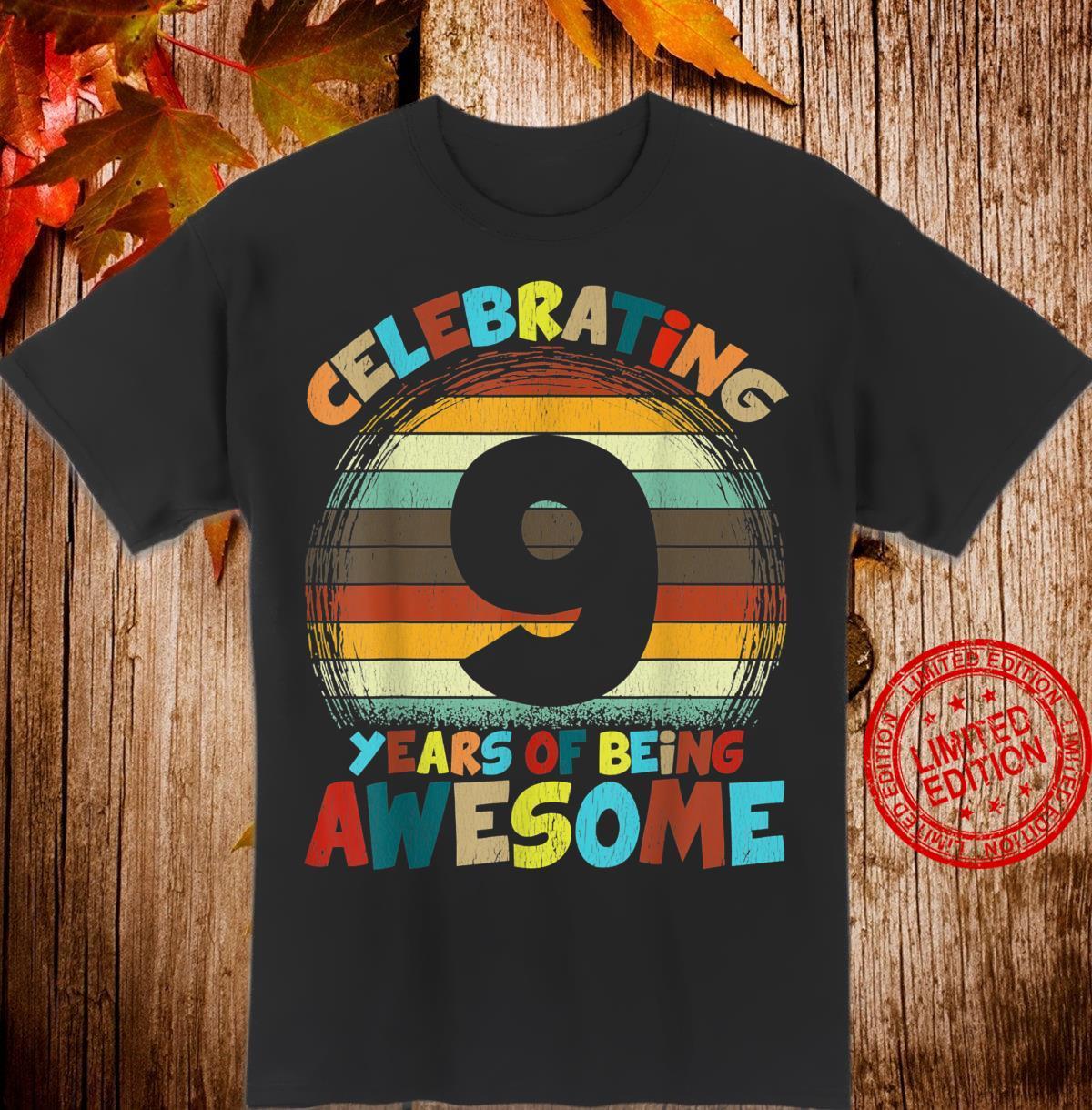 8th Birthday Retro Vintage Girls or Boys 9th Birthday Shirt