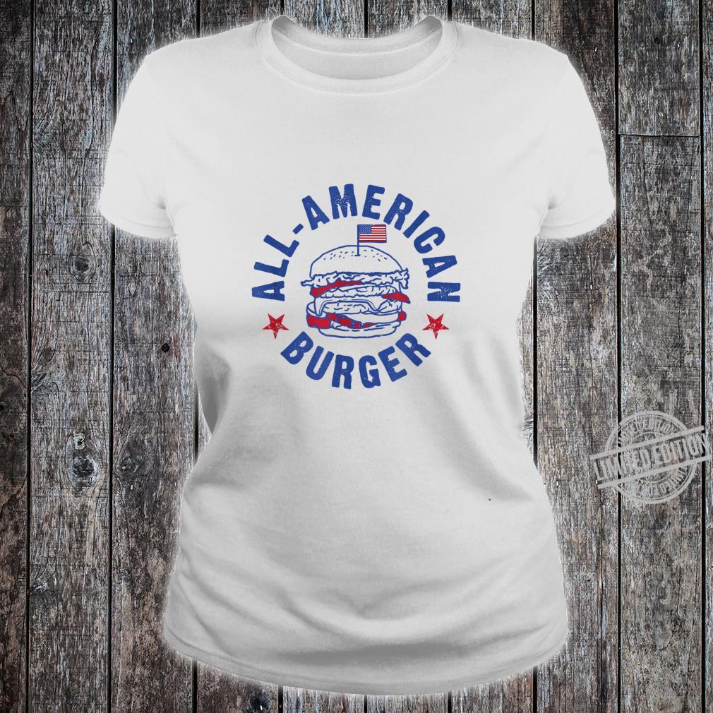 AllAmerican Burger Hamburger Eating Shirt ladies tee