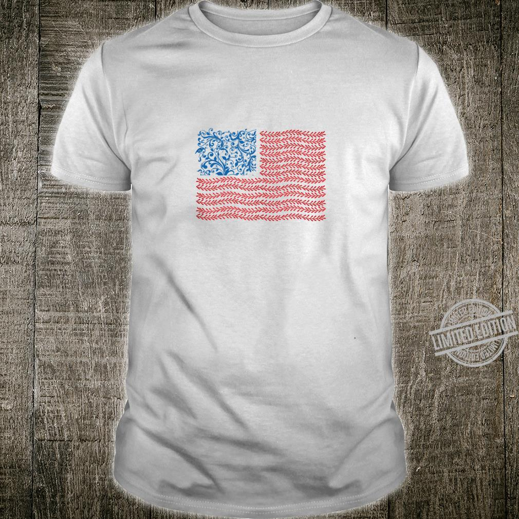 America Floral Flag Patriot USA 4th of July Cute Shirt