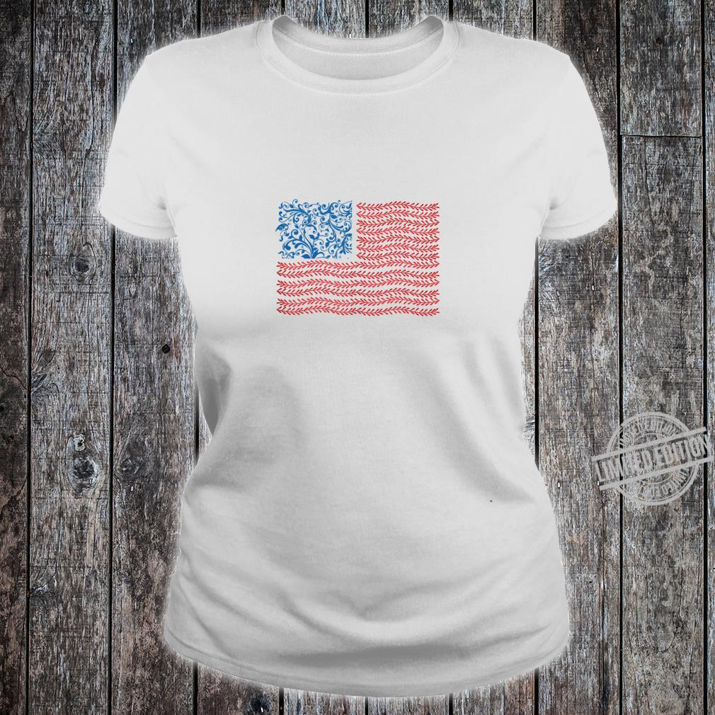 America Floral Flag Patriot USA 4th of July Cute Shirt ladies tee