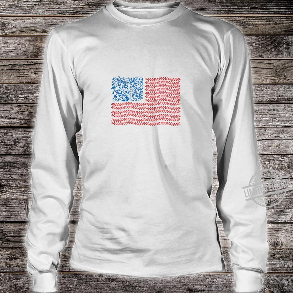 America Floral Flag Patriot USA 4th of July Cute Shirt long sleeved