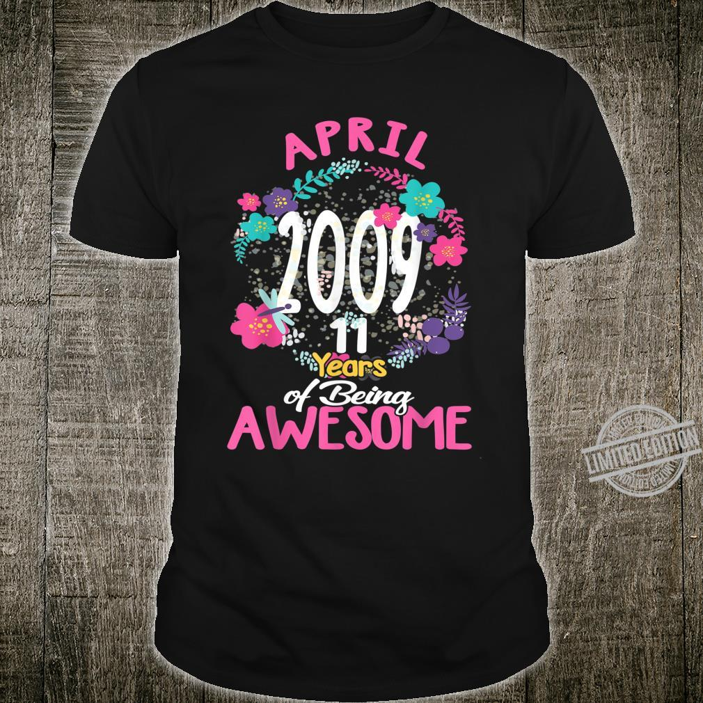 April 2009 11th Birthday Tee Floral for Girls Shirt