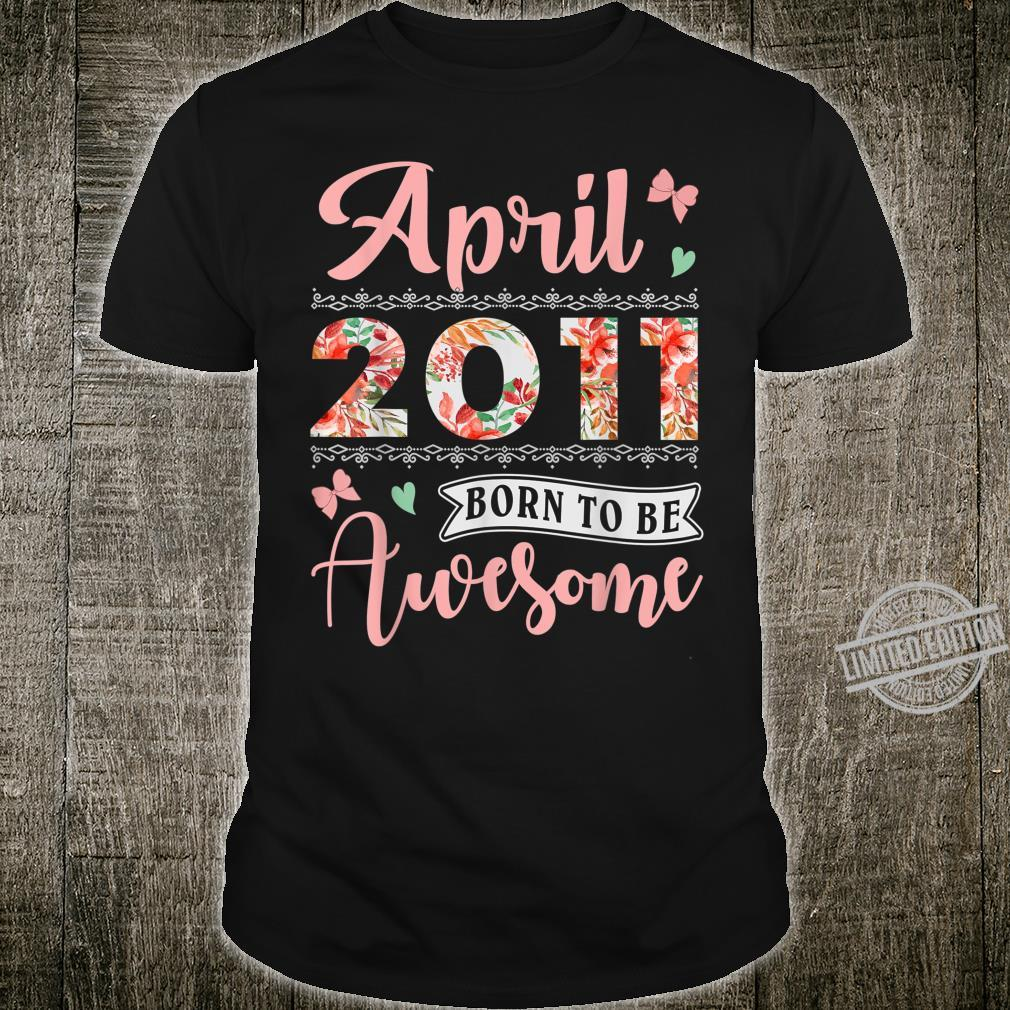 April 2011 9 Years Old Birthday Floral for Girls Shirt