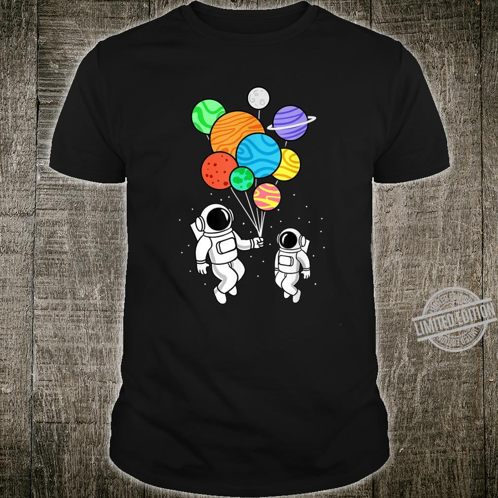 Astronaut Holding Planet Balloons Space Shirt