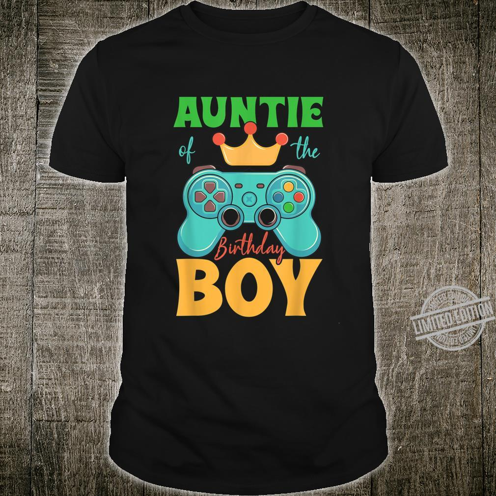 Auntie of the Birthday Boy Matching Video Gamer Bday Party Shirt