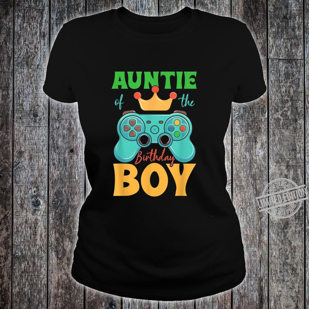 Auntie of the Birthday Boy Matching Video Gamer Bday Party Shirt ladies tee