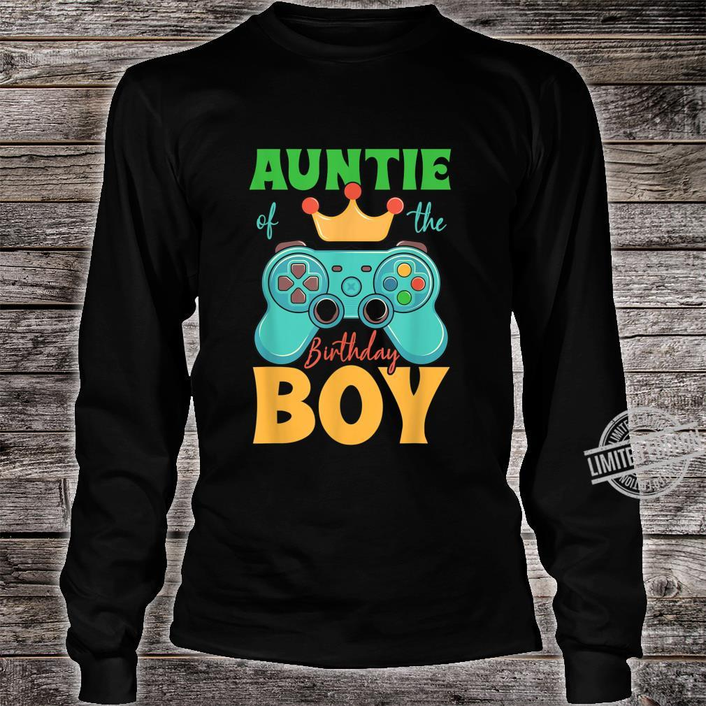 Auntie of the Birthday Boy Matching Video Gamer Bday Party Shirt long sleeved