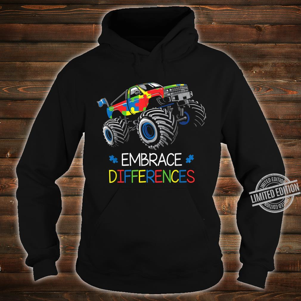 Autism Awareness Embrace Differences Monster Truck Boys Shirt hoodie