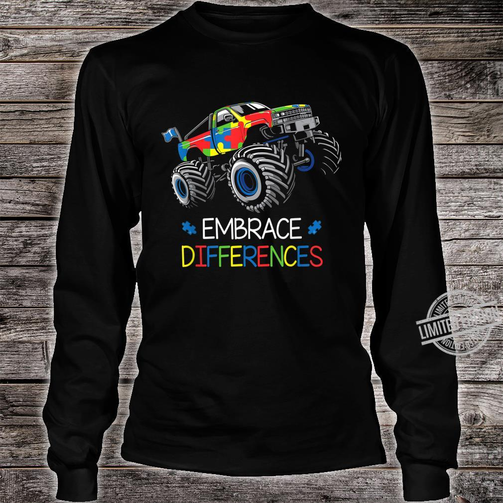 Autism Awareness Embrace Differences Monster Truck Boys Shirt long sleeved
