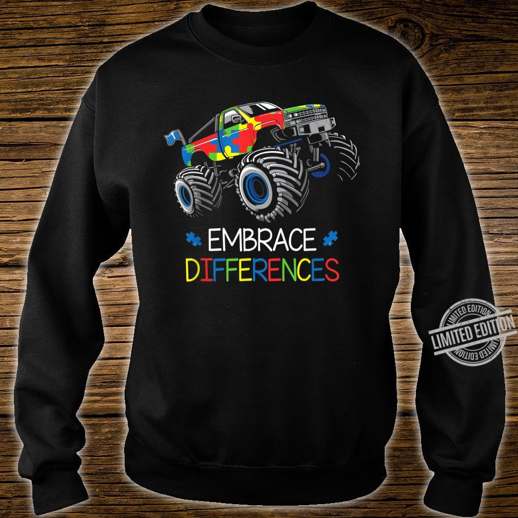 Autism Awareness Embrace Differences Monster Truck Boys Shirt sweater