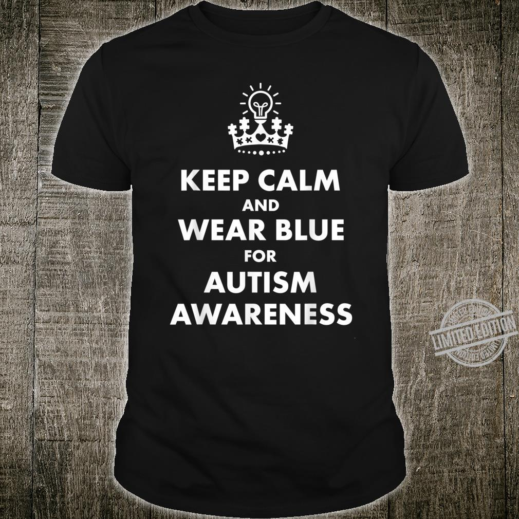 Autism Blue Keep Calm Light Bulb Puzzle Awareness Support Shirt