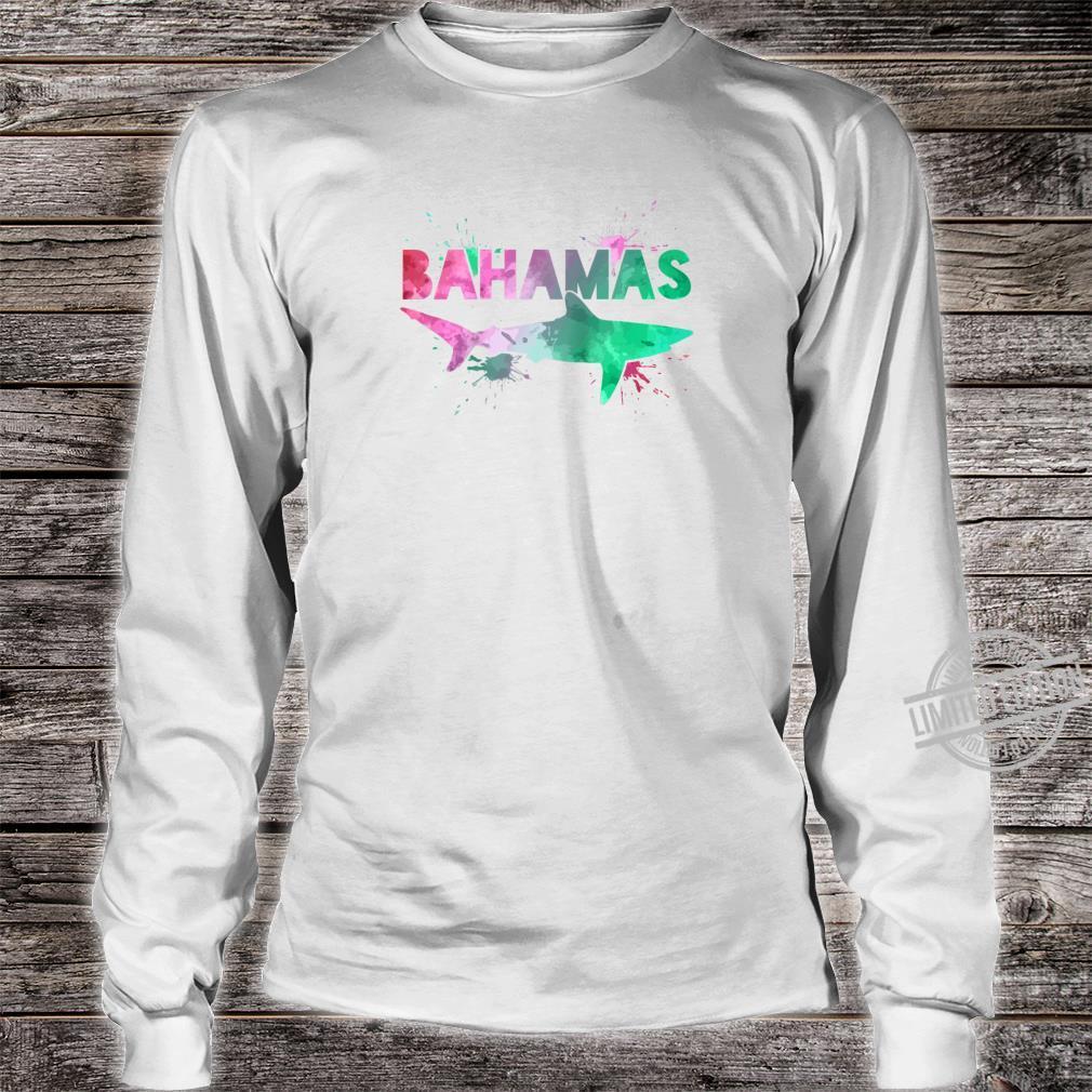 Bahamas Shark Scuba Diving Watercolor Art Souvenir Shirt long sleeved