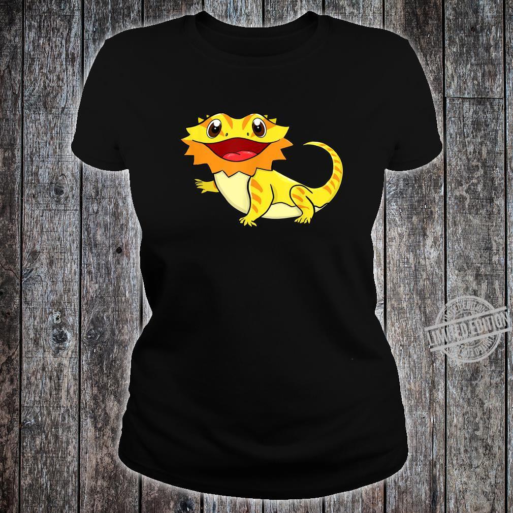 Bartagame Bartagamen Reptilien Eidechse Haustier Tier Schwar Shirt ladies tee
