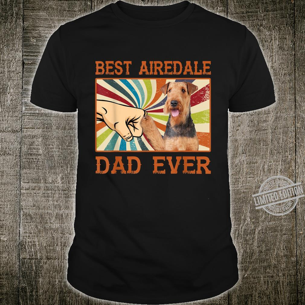 Best Airedale Dad Ever Retro Vintage Shirt