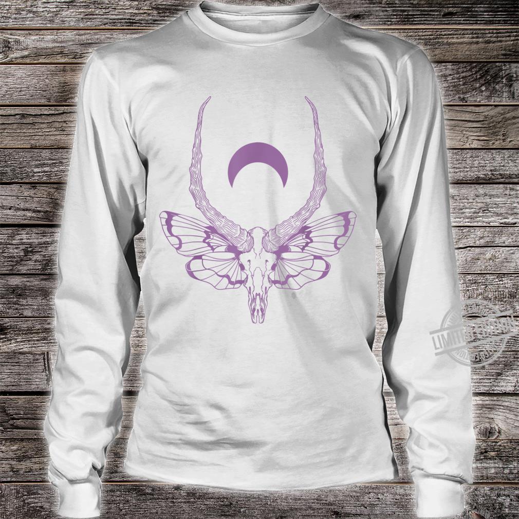 Black & Death Metal Pastel Goth Soft Grunge Moth Skull Shirt long sleeved
