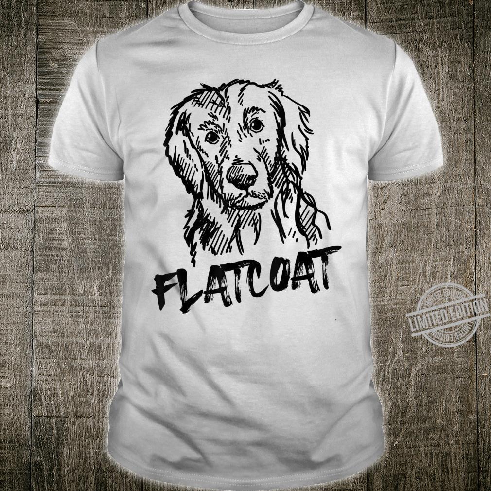 Black Flatcoat Dog Unique Hand Drawn Art Shirt