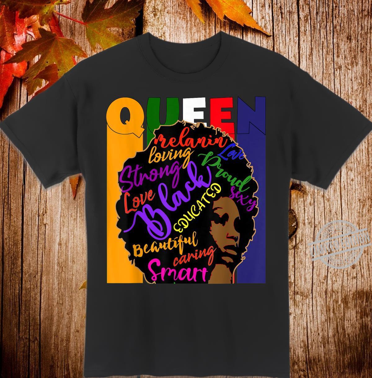 Black Queen African Colors Afro Words Melanin Shirt