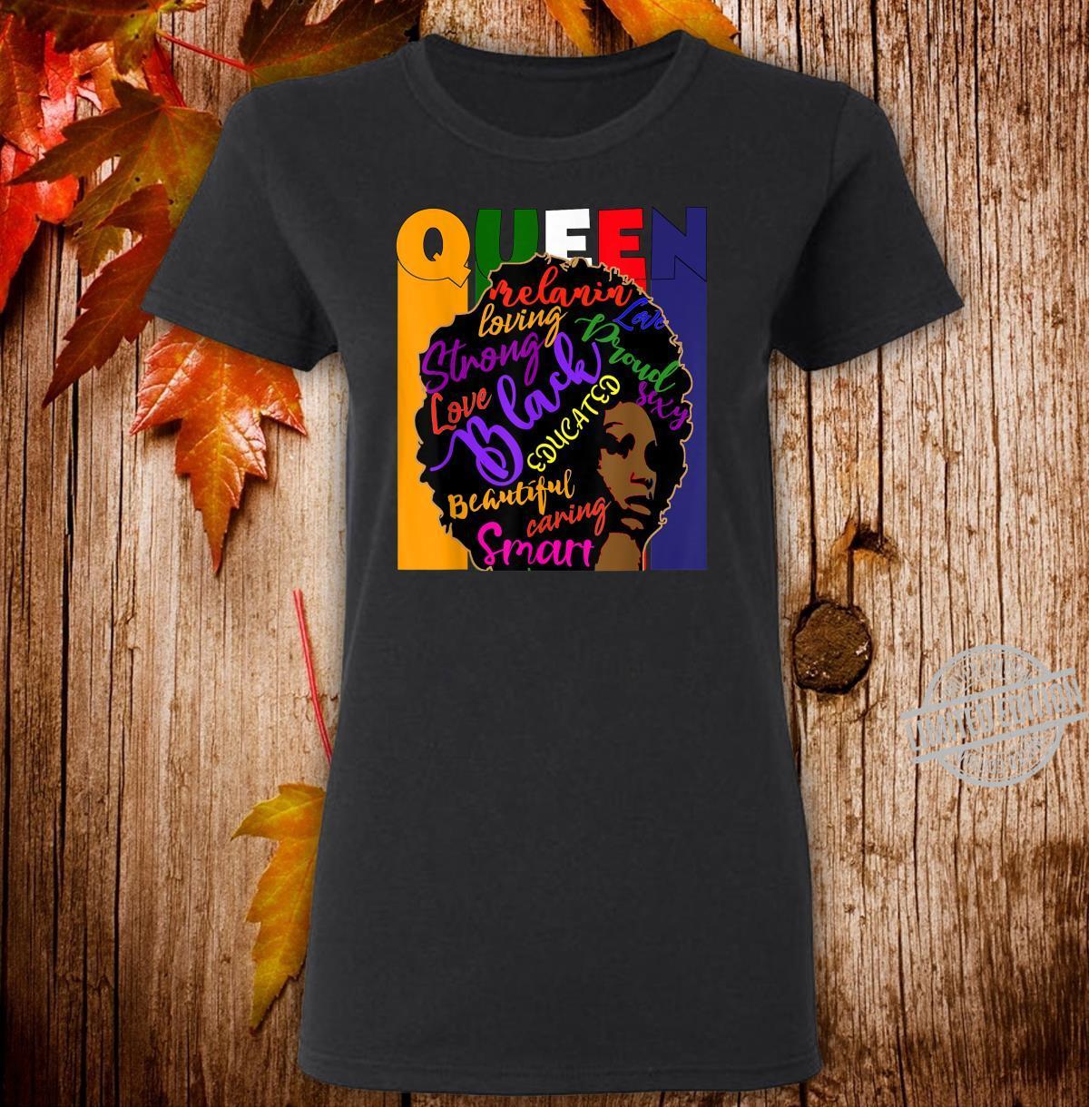 Black Queen African Colors Afro Words Melanin Shirt ladies tee
