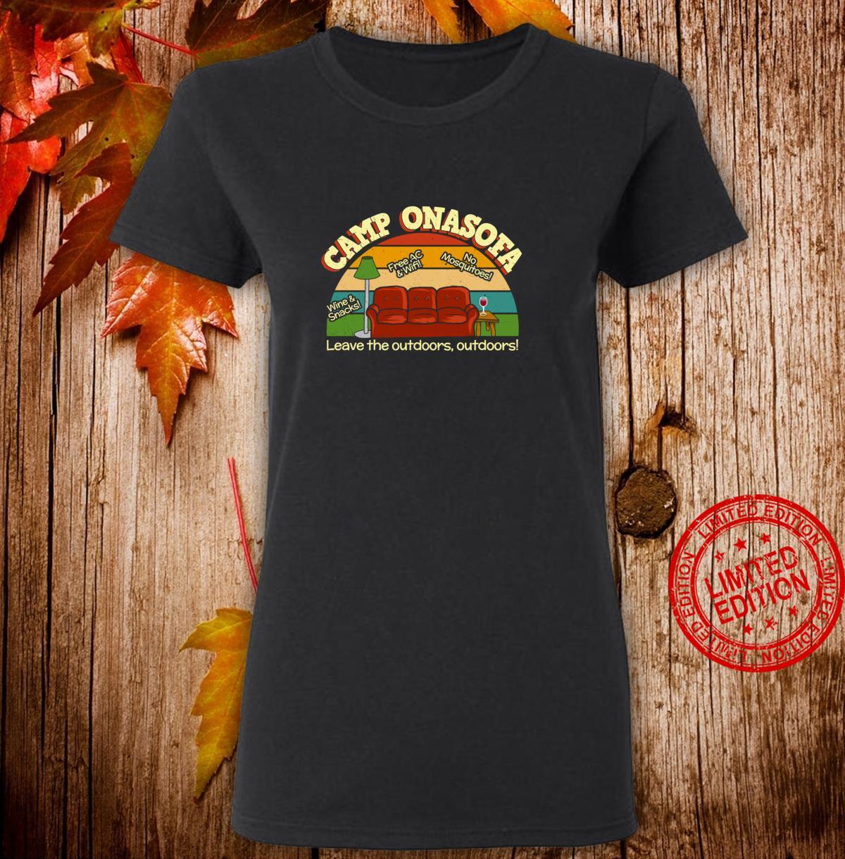 Camp OnaSofa Vacation Staycation Glamping with Wine Shirt ladies tee
