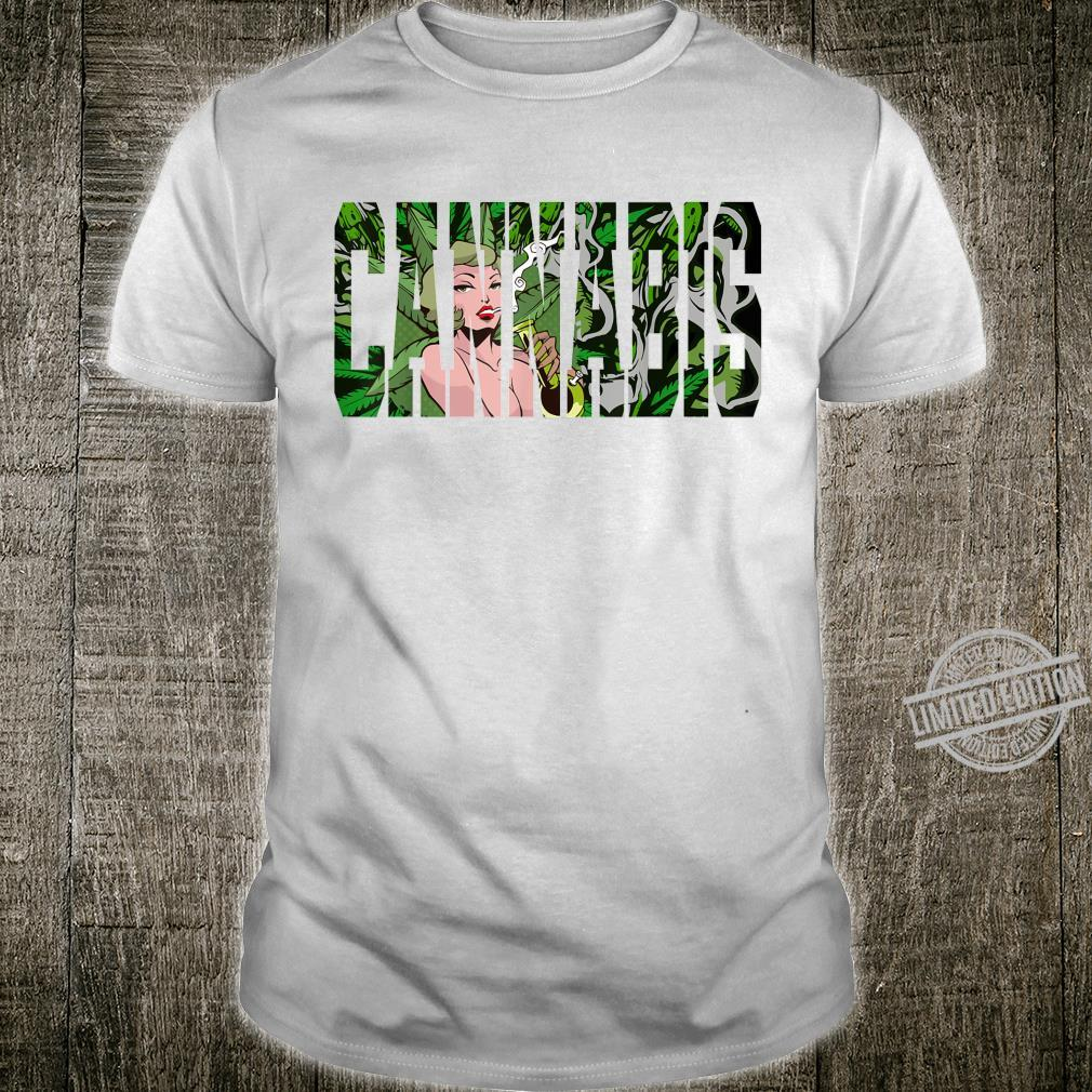 Cannabis Pinup Girl Trippy Psychedelic Weed Kiffer Stoner Shirt
