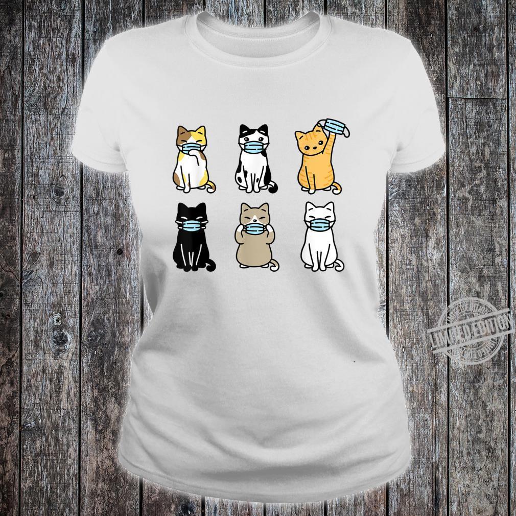 Cat Face Mask, Cute Pet Catss Quarantine Cat Mom Shirt ladies tee