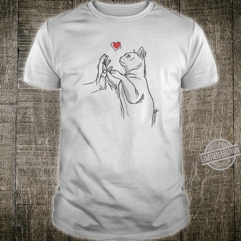 Cat Love Hand Cute Kitten with paw and hand, Cats Shirt