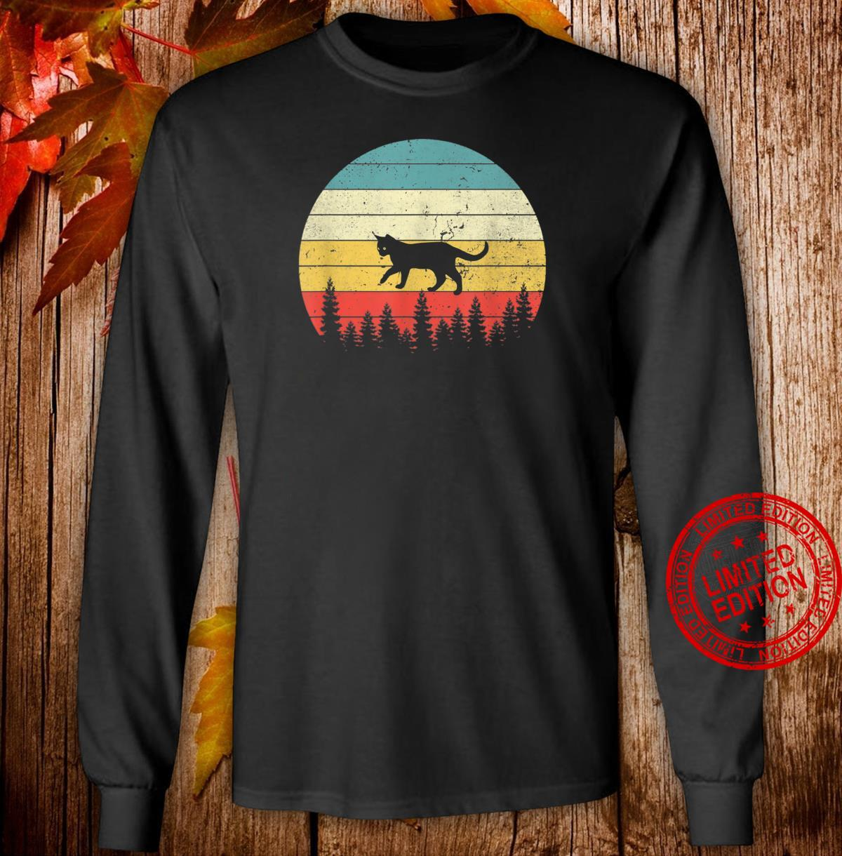 Cat Vintage Retro Sunset Cat Cats Shirt long sleeved