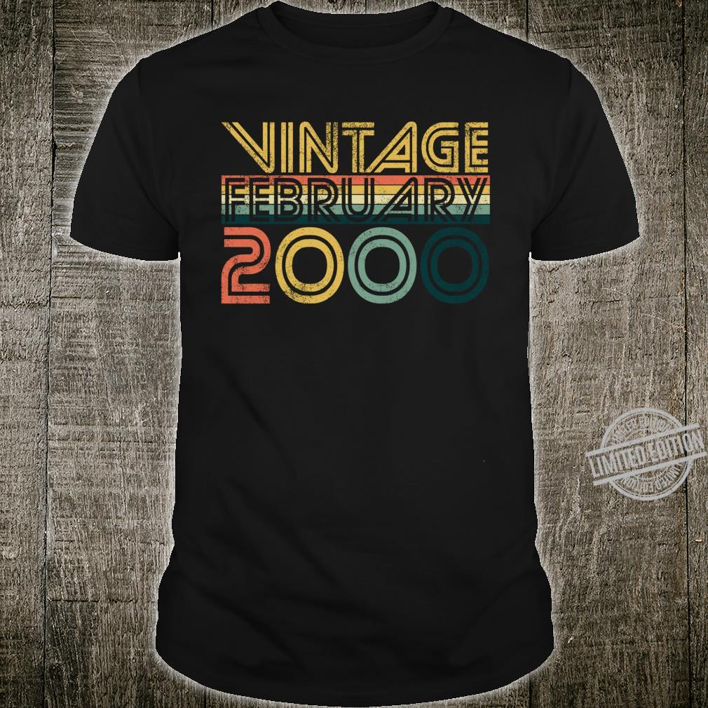 Cool 20th Birthday 20 Years Old Vintage February 2000 Shirt