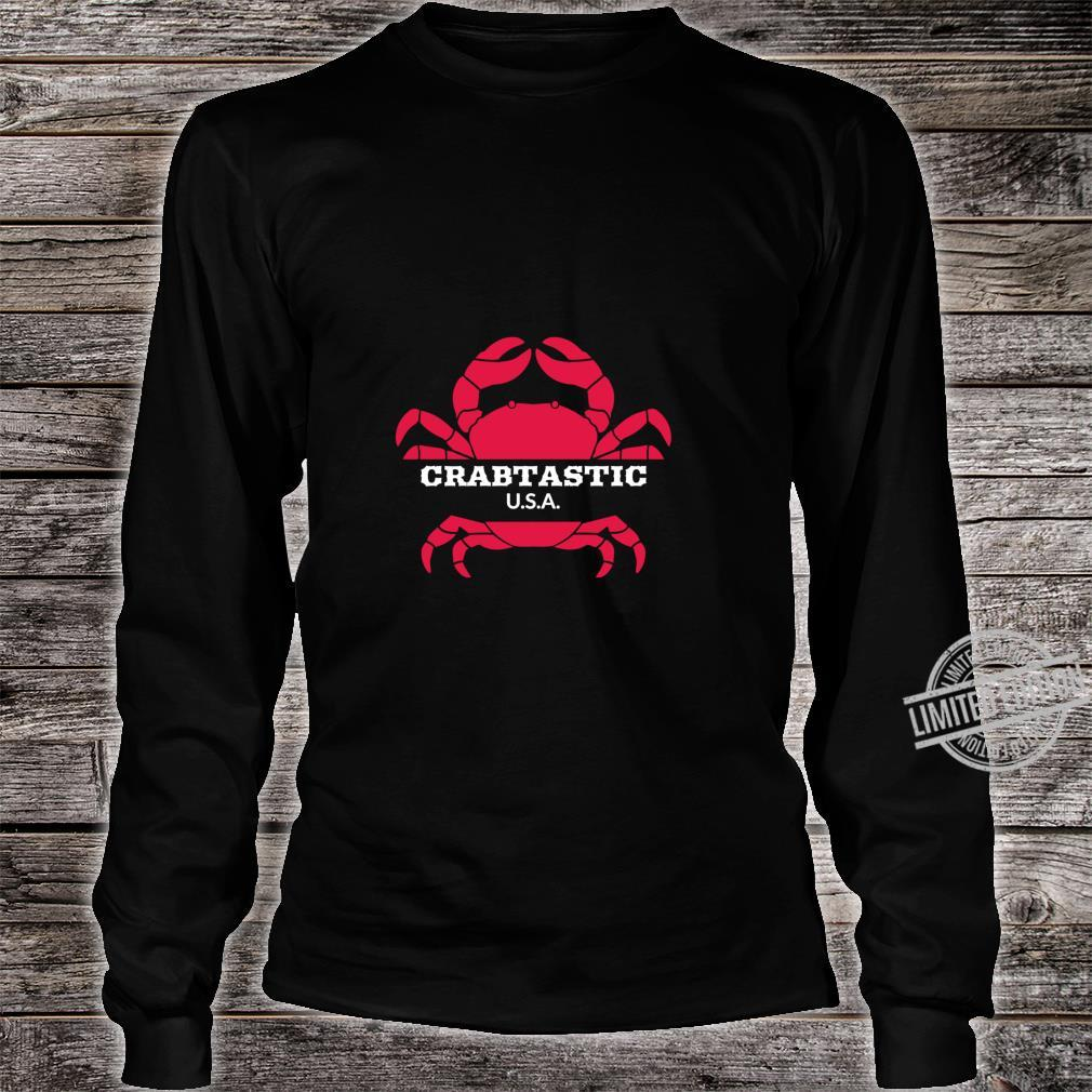Crabtastic USA Summer Beach Red Crab Shirt long sleeved