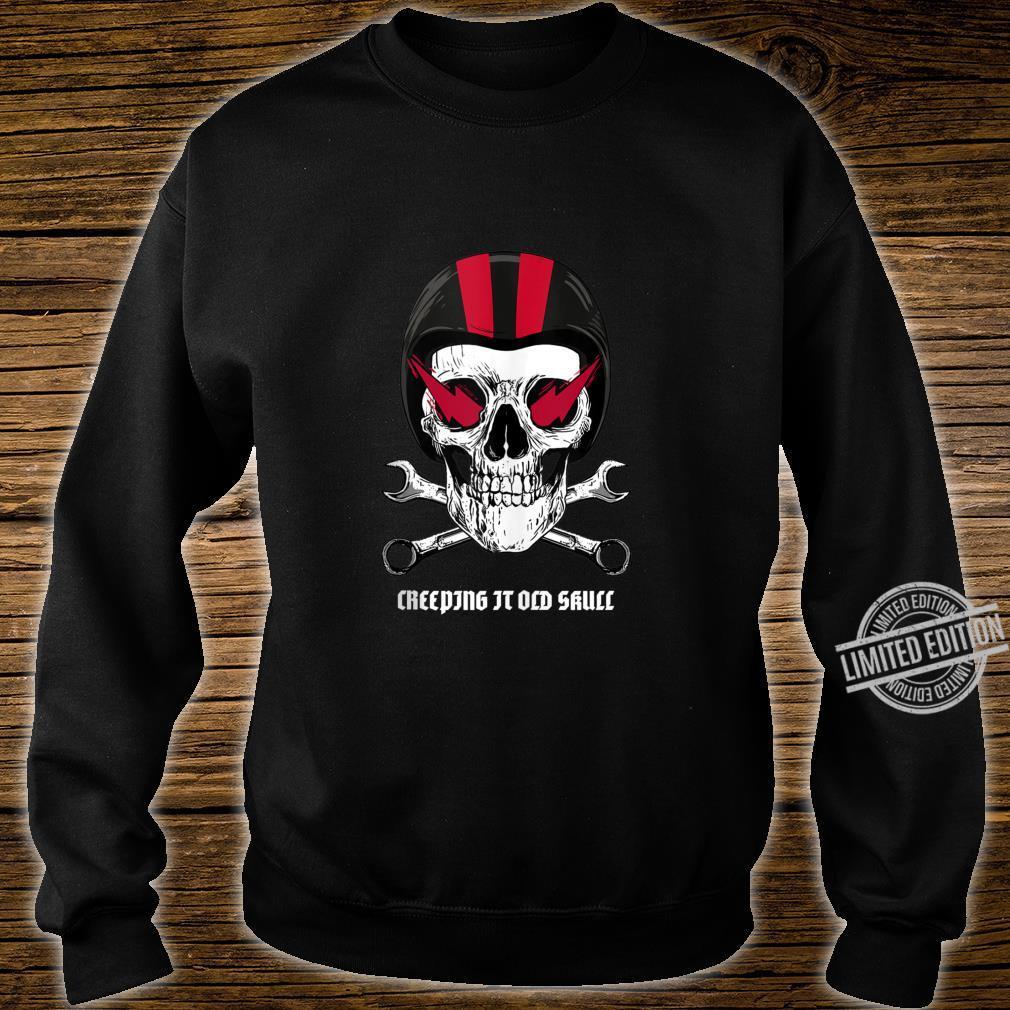 Creeping It Old Skull Biker Design Shirt sweater