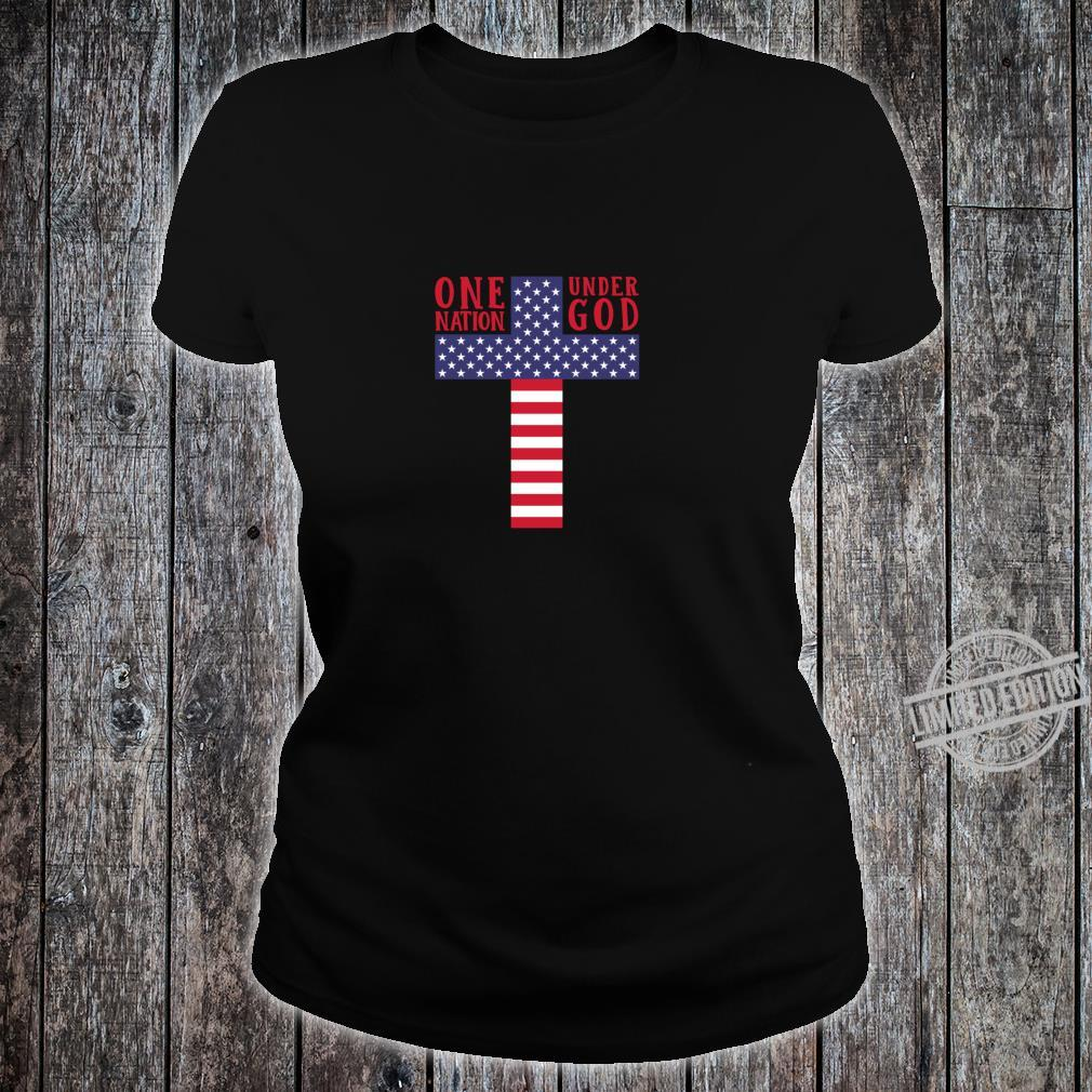 Cross American Flag One Nation Under God Stars & Stripes Shirt ladies tee