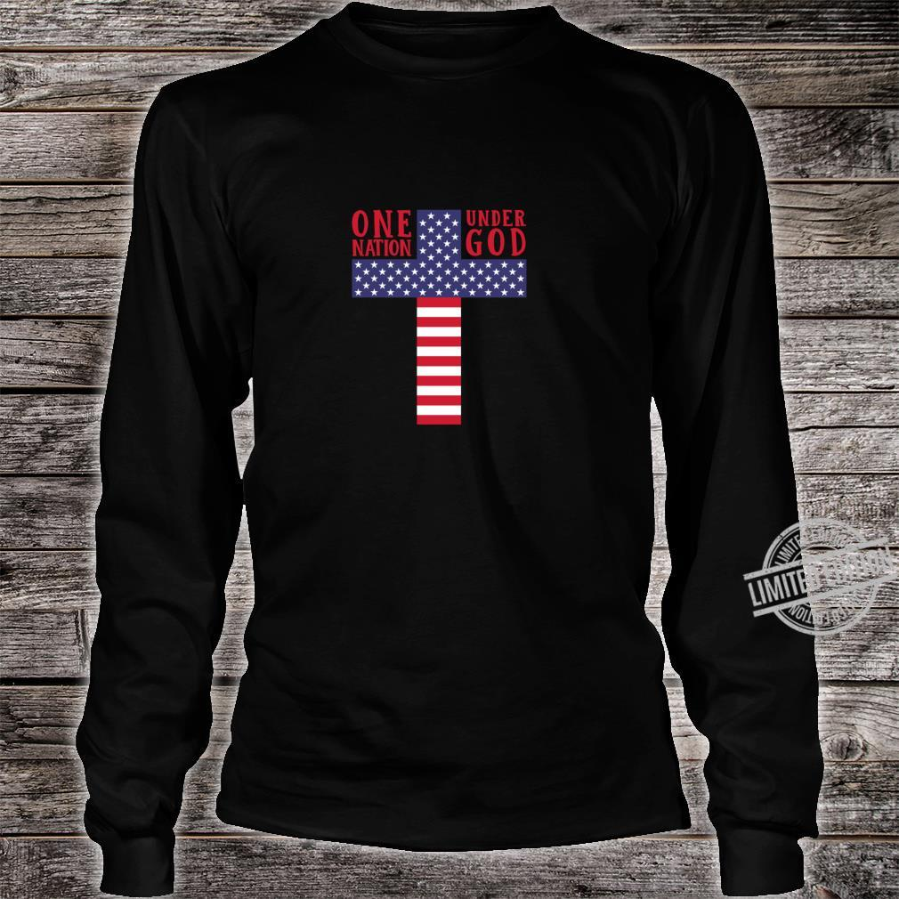 Cross American Flag One Nation Under God Stars & Stripes Shirt long sleeved