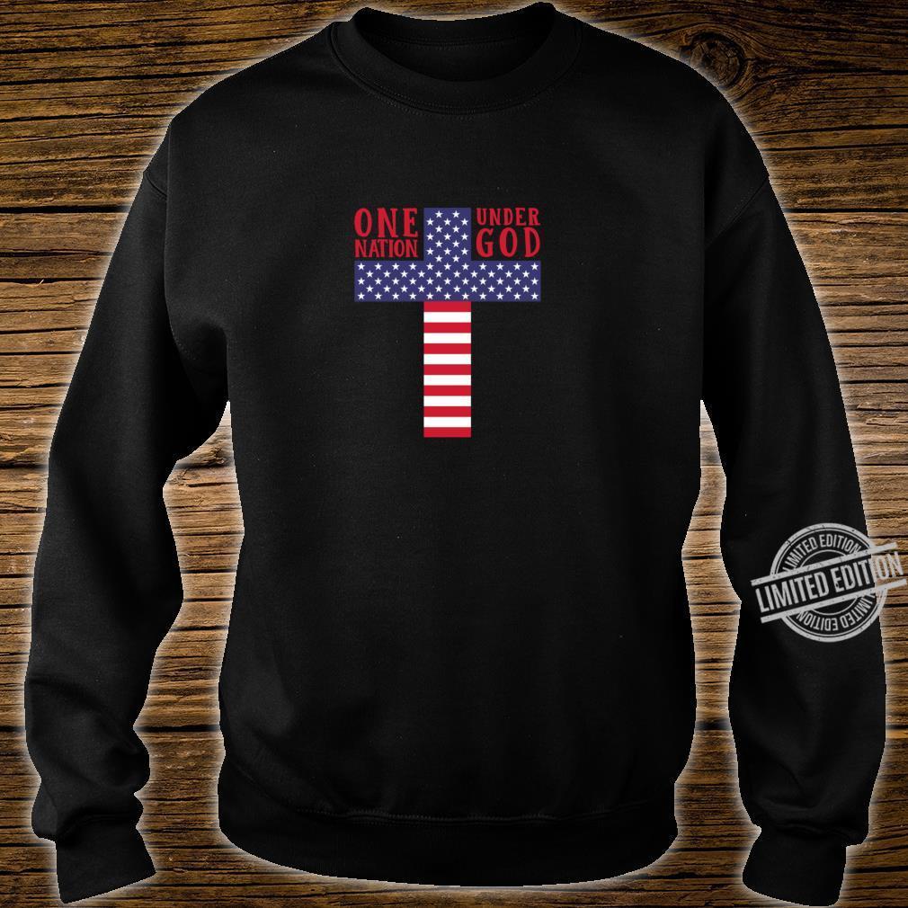 Cross American Flag One Nation Under God Stars & Stripes Shirt sweater
