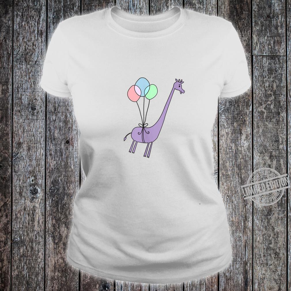 Cute Giraffe Balloons Floating Away Shirt ladies tee
