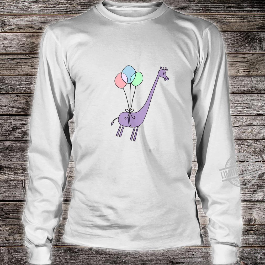 Cute Giraffe Balloons Floating Away Shirt long sleeved