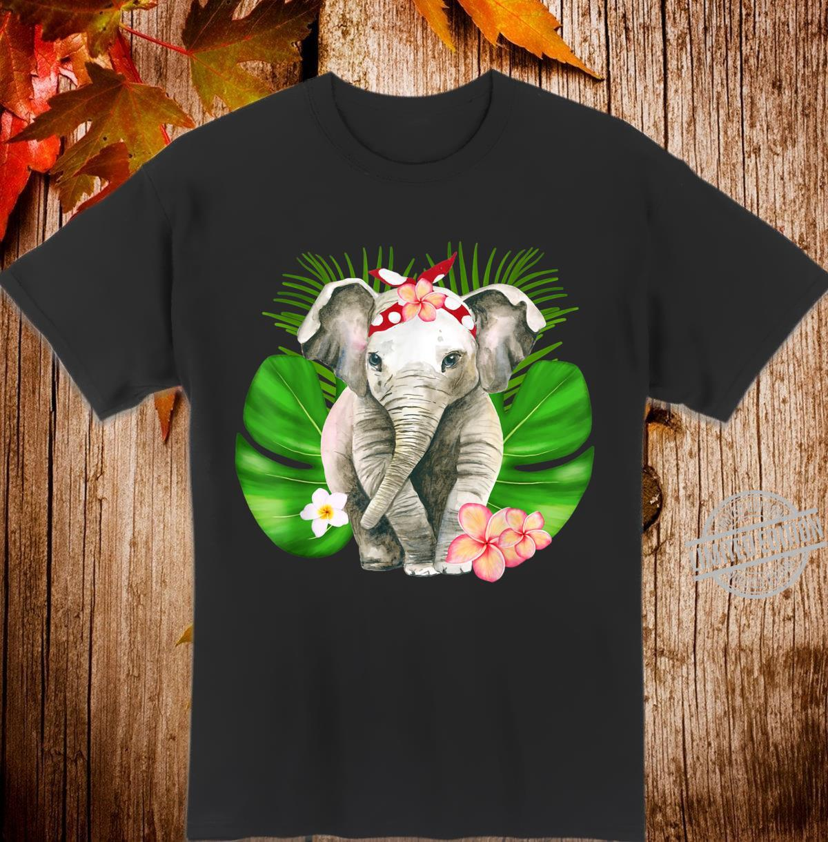 Cute Tropical Baby Elephant Red Head Bandana Frangipani Leaf Shirt