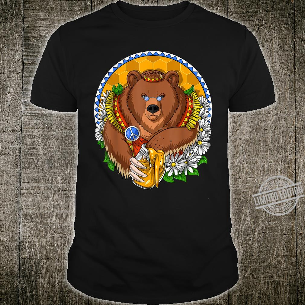 Hippie Bear Forest Flowers Peace Sign Nature Shirt