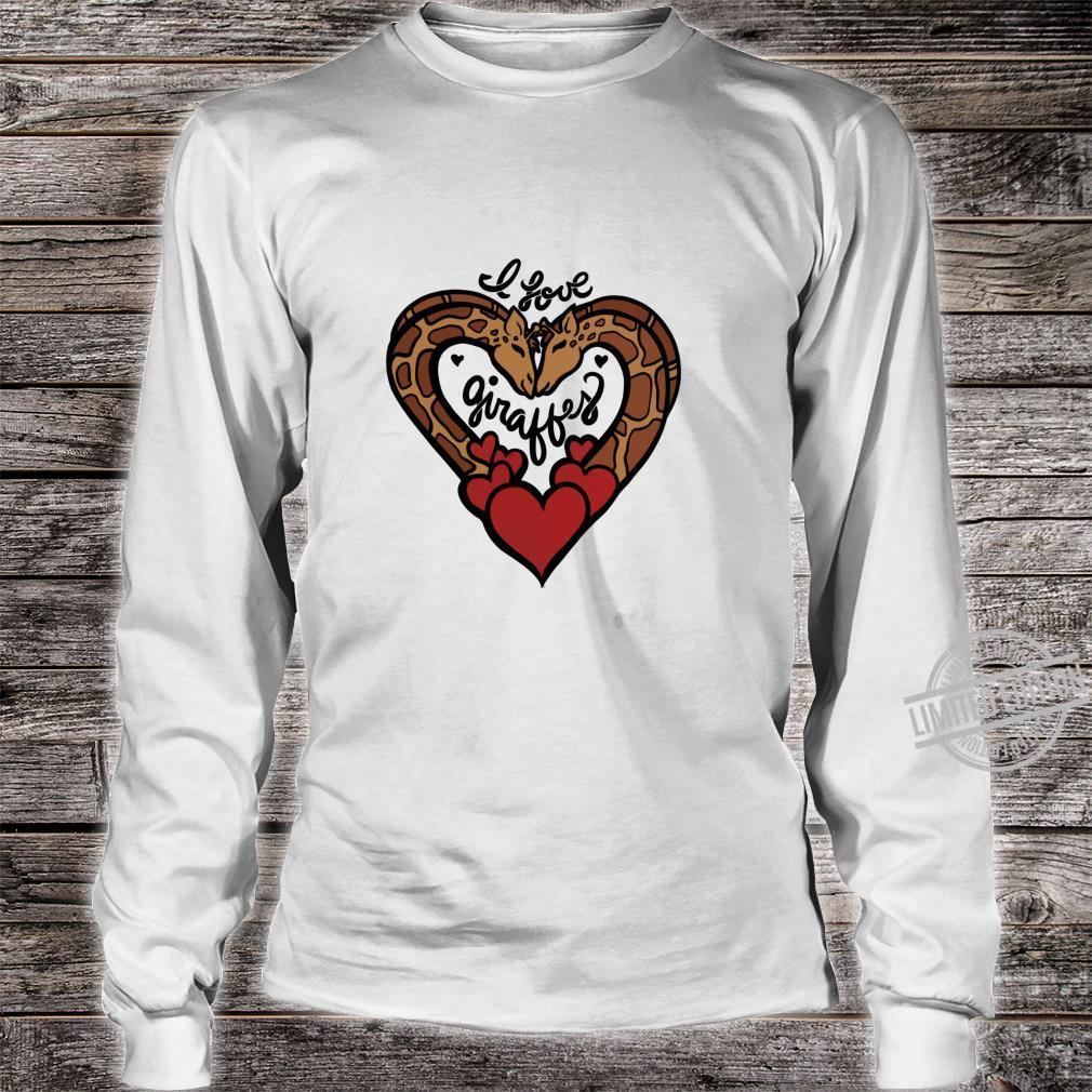 I love giraffes cute giraffe hearts designs Shirt long sleeved