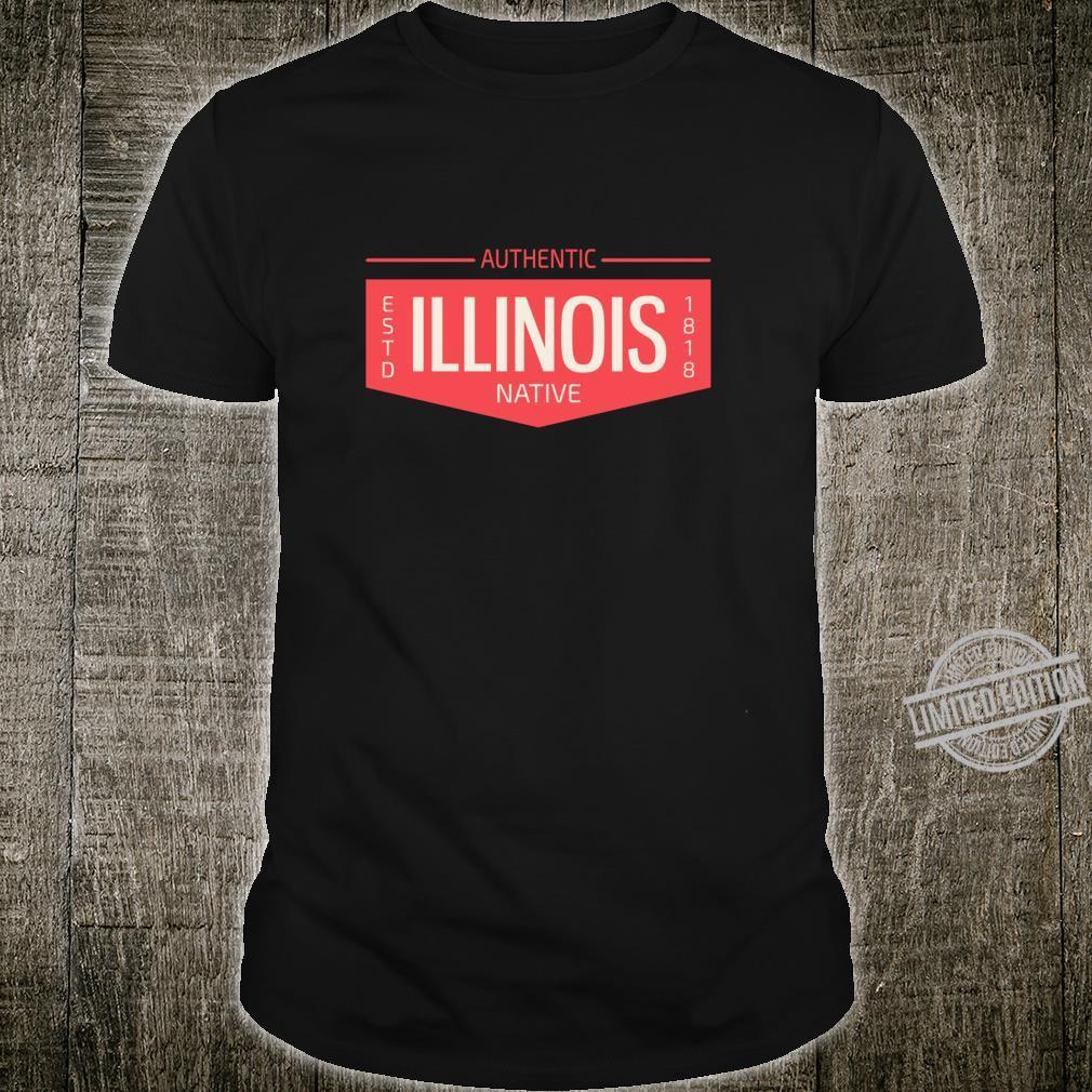 Illinois Native Authentic Flag Patch Badge Logo Design Shirt